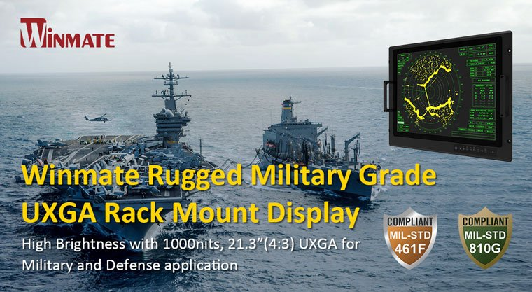 """Winmate 21.3"""" PCAP Rack Mount Rugged Display ready for deployment in military, industrial, air traffic control and marine sectors."""